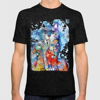 Chinese Cat - watercolor painting Mens Fitted Tee Tri-Black SMALL