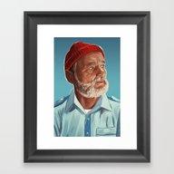 Framed Art Print featuring Steve Zissou by Sam Gilbey