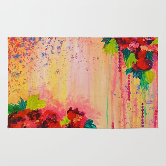 STRAWBERRY CONFETTI PAINTING Abstract Acrylic Floral Beautiful Feminine Flower Bouquet Girlie Pink Area & Throw Rug