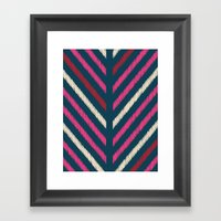 Wild_Chevron_Ikat_Navy Framed Art Print