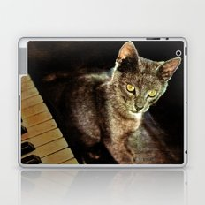 Music was my first love cat and piano Laptop & iPad Skin