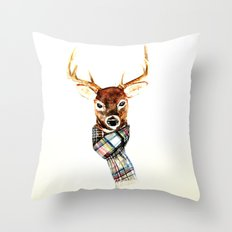 Deer Buck With Winter Sc… Throw Pillow