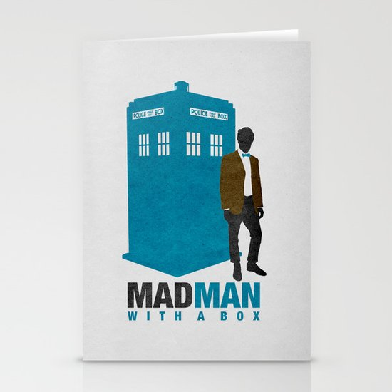 MAD MAN With A Box Stationery Card