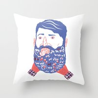 Animals In Beard Throw Pillow