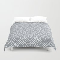 Map Outline 45 Grey Repe… Duvet Cover