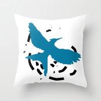 MockingJay Revolution - Blue Throw Pillow