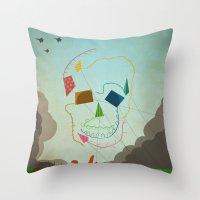 Flying Skull Throw Pillow
