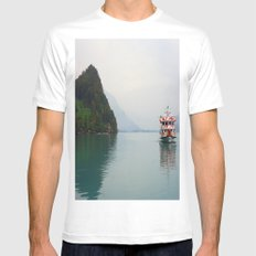 Smooth Waters White Mens Fitted Tee SMALL