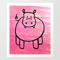 Harry The Pink Hippo Art Print
