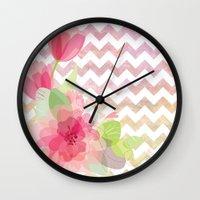 Chevron Flowers Wall Clock