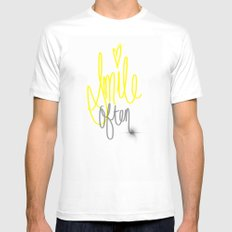Put a Smile On SMALL White Mens Fitted Tee