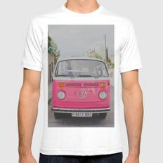 Hot Pink Lady White SMALL Mens Fitted Tee