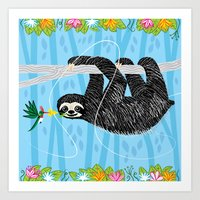 The Sloth and The Hummingbird Art Print