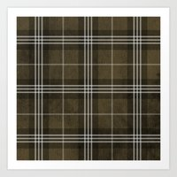 Grungy Brown Plaid Art Print