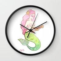 ukulele mermaid Wall Clock