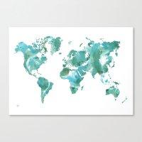 Watercolour World Map (m… Canvas Print