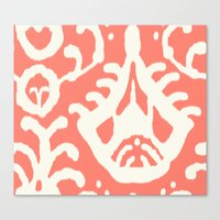 Ikat In Coral  Canvas Print