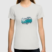 VW Campervan II Womens Fitted Tee Silver SMALL