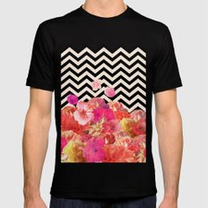 Chevron Flora II Black Mens Fitted Tee SMALL