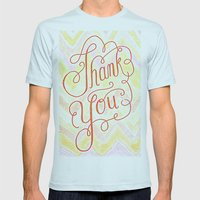 Thank you - hand lettered on chevron Mens Fitted Tee Light Blue SMALL