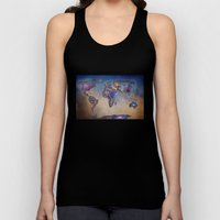 Stars World Map. Blue Unisex Tank Top