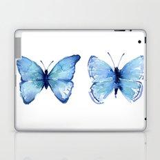 Two Blue Butterflies Watercolor Laptop & iPad Skin