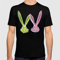 Atomic Rabbits Mens Fitted Tee Black SMALL