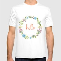 Hello  Mens Fitted Tee White SMALL