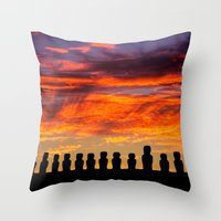 EASTER ISLAND SUNRISE Throw Pillow