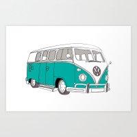 Blue Volkswagen Camper Van (Landscape) (Kombi / VW) Art Print