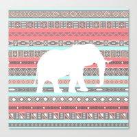 Elephant Aztec Pattern Pastel Peach Aqua Print Canvas Print