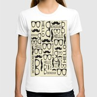 Hello, Bonjour Womens Fitted Tee White SMALL