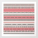 Aztec Print Peach Rose Salmon Grey Art Print