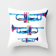 Colorful Trumpet 2 Art B… Throw Pillow