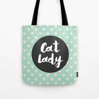 Cat Lady - mint cat pattern Tote Bag