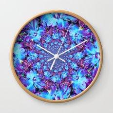 Blue Daffodil Kaleidoscope Wall Clock