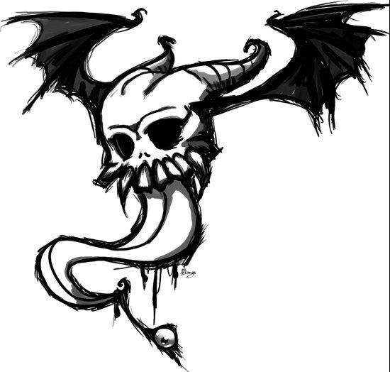 winged skull and tongue Art Print