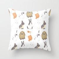 Rabbits and bunnies Throw Pillow