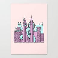 Monster Invasion Colored Canvas Print