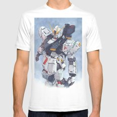 Nu Gundam watercolor Mens Fitted Tee White SMALL