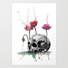 Skull and Poppies Art Print