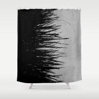 Concrete Fringe Black on Side Shower Curtain