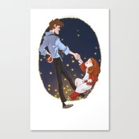 Little Amelia and her Raggedy man. Canvas Print