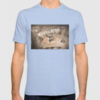Adventure is out there. Stars world map. Sepia Mens Fitted Tee Tri-Blue SMALL