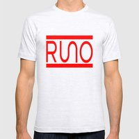 Rue Nothing RUNO Logo Red Mens Fitted Tee Ash Grey SMALL
