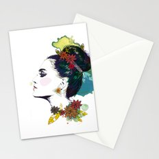 Profile of woman Bun Stationery Cards
