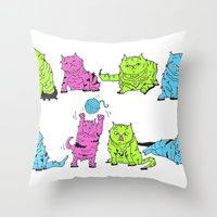 Fluro Cats Throw Pillow