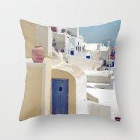 Santorini Door VIII Throw Pillow