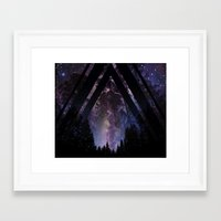 Triangle Forest At Night Framed Art Print