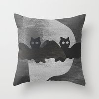 Bat night Throw Pillow